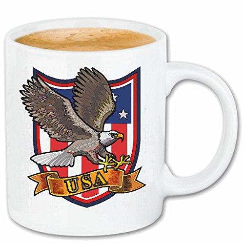 Reifen-Markt Kaffeetasse Adler AUF Einer USA Flagge Geier GREIFVOGEL RAUBVOGEL STEINADLER GREIFVOGEL WEISSKOPFSEEADLER Keramik 330 ml in Weiß