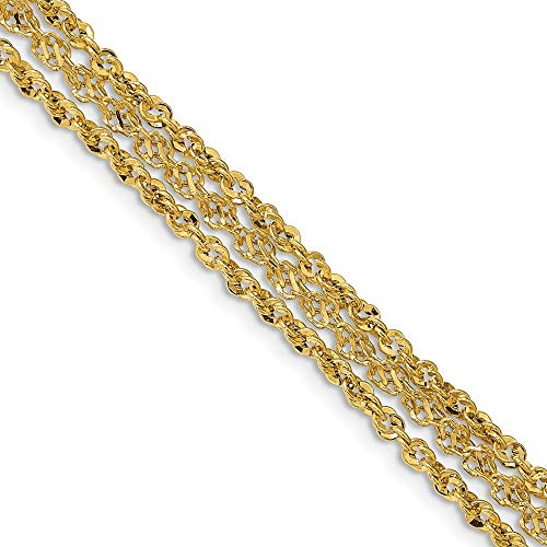 14k Polished 3 Strand Fancy Bracelet - 7.5 Inch