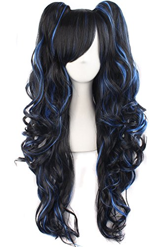 Tsnomore Multi-color Lolita Long Curly Clip on pigtail Cosplay Wig (Black with Blue Highlights)