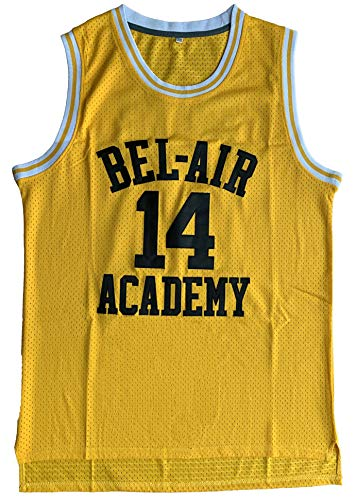 vinking #14 The of Bel Air Academy 90s Hip Hop Clothes for Party Men Basketball Jersey (14 Yellow, Large)
