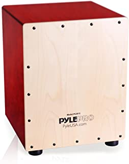 Pyle Jam Wooden Cajon Percussion Box, with Internal Guitar Strings (PCJD15)