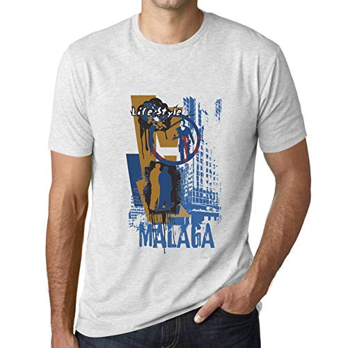One in the City Hombre Camiseta Vintage T-Shirt Gráfico Malaga Lifestyle Blanco Moteado