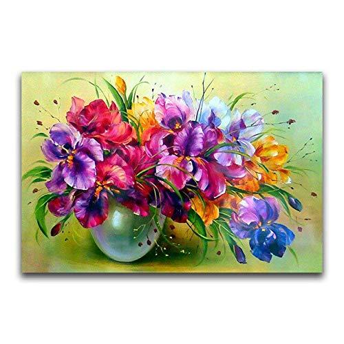Redondo completo 5D DIY diamante bordado'flores de colores' pintura de diamante punto de cruz diamantes de imitación 5D decoración regalo A2 45x60cm