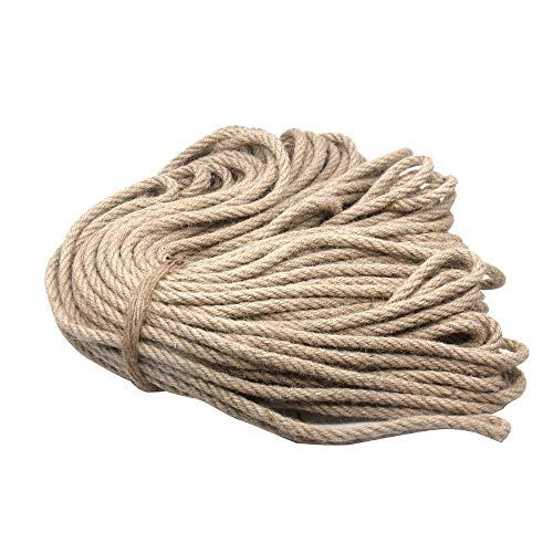YAVO-EU Cuerda de Cáñamo,50m Cuerda de Yute,Cuerda Cáñamo Natural Gruesa Cuerda para Manualidades, Decoración, Jardinería, Cuerda para Rascar Gatos (8mm 50m)