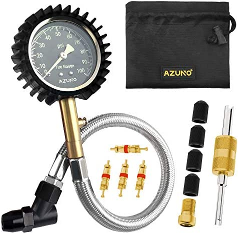 AZUNO Tire Pressure Gauge 100 PSI with 12 Steel Hose for Cars and Bikes product image