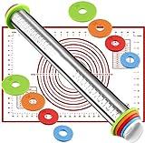 SOULBEST Rolling Pins de Acero Inoxidable - Rodillos de Amasar Conjunto con 4 Pares Discos Ajustables Anillo y Tapete de Silicona para Pasta/Pizza/Torta/Pastel/Galletas/Pan/Fondant (Rojo Tapete)