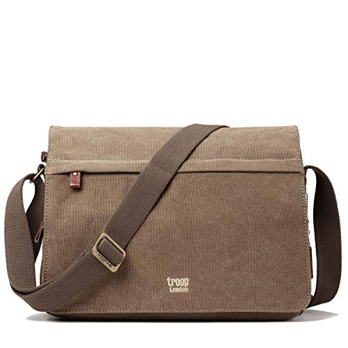 TRP0241 Troop London Classic Canvas Messenger Bag Should bag For Men Women (Brown)