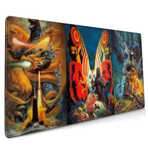 Godzilla Vs Space Mothra Extended Gaming Mouse Mat, DIY Custom Professional Mouse Pad (35.5x15.8In),Desk Pad Keyboard Pad Mat, Water-Resistant, Non-Slip Base, for Work & Gaming, Office & Home