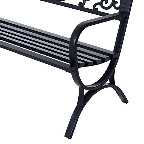 Outsunny® Gartenbank Sitzbank Bank Metall Gartenmöbel 2-Sitzer Schwarz 2 Module (Modell 1) - 8