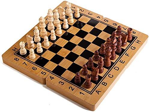 YZJL Tablero de ajedrez de Madera con Ejercicio Estimulante del Cerebro, Regalo de ajedrez Plegable portátil para niñosajedrez Madera