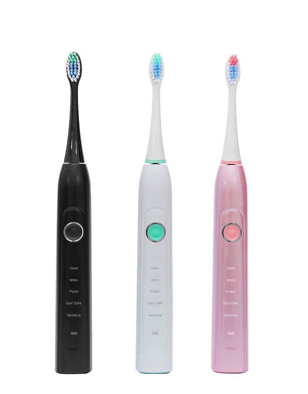 長いです手書き欺く電動歯ブラシ、ソニック電動歯ブラシ、家庭用大人用自動歯ブラシ、5つのブラッシングモード付き、誘導充電(カラー:ブラック)