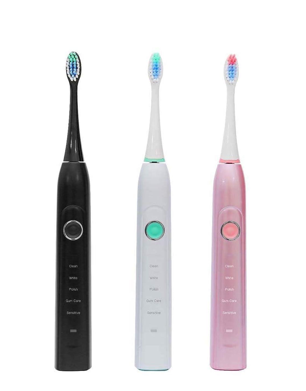 スクリューソーダ水覚醒電動歯ブラシ、ソニック電動歯ブラシ、家庭用大人用自動歯ブラシ、5つのブラッシングモード付き、誘導充電(カラー:ブラック)