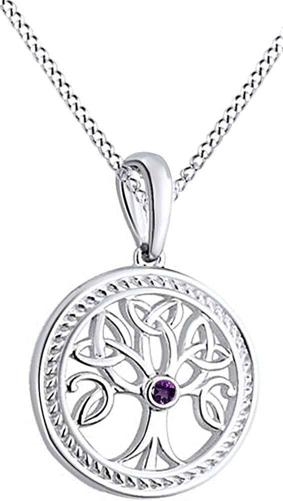 Jewel Zone US Tree of Life Pendant Necklace with Simulated Gemstone 14k Gold Over Sterling Silver