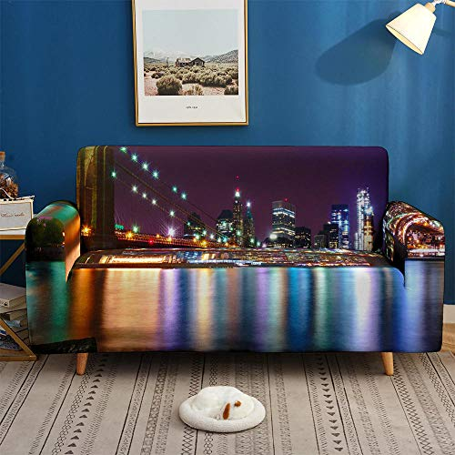 HXTSWGS Protector de Muebles Fundas sofá,City Night Scene 3D Sofa Cover, Elastic Stretch Sofa Cover, 1/2/3/4 Seater Sof Slipcover, Couch Covers for Livingroom-BDW76_1-Seat 90-140cm