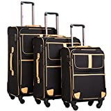 Coolife Luggage 3 Piece Set Suitcase with TSA lock pinner softshell 20in24in28in (Black.)