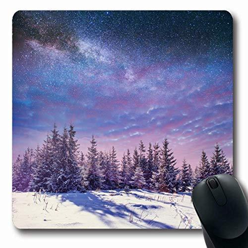 Jamron Mousepad OblongStarry Sternenlicht Himmel Sternbild Winter Teleskop Berg Schnee Schnee Nacht Milchstraße Fantastische Natur Rutschfeste Gummimaus Pad Büro Computer Laptop Spiele Mat.-Nr.