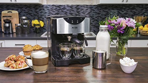 Mr. Coffee Automatic Dual Shot Espresso/Cappuccino System 7 15-bar pump system uses powerful pressure to extract a dark, rich espresso brew Frothing arm makes creamy froth to top off your cappuccinos and lattes Make 2 single shots at once with dual-shot brewing. Watts: 1250