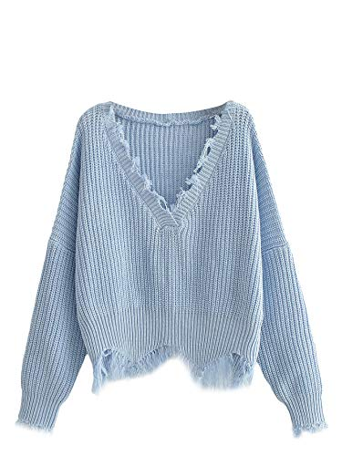 Floerns Women's Casual Drop Shoulder Knit Pullover Sweater Baby Blue One Size