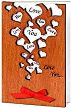 Handmade Love You Many Hearts Real Wood Sentimental Greeting Card Best Unusual Wedding Day Happy Birthday Gift Dating Anniversary Keepsake for Husband Wife Bride Groom Mom Bridesmaid Fiancé Fiancee e