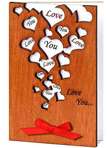 Love You Many Hearts Real Wood Sentimental Greeting Card Congratulations Valentines Day Valentine Happy Holidays Birthday Dating Wedding Anniversary Present for Couple Him Her Boyfriend Girlfriend Husband Wife Bride Groom Mom Dad Grandma e