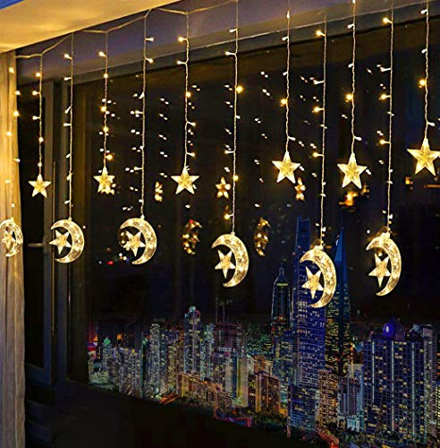 Domoos 138 LED String Lights, Moon Star Curtain String Lights with 8 Flashing Modes Decoration for Wedding Party Home Garden Bedroom Outdoor Indoor Wall Window Christmas Tree