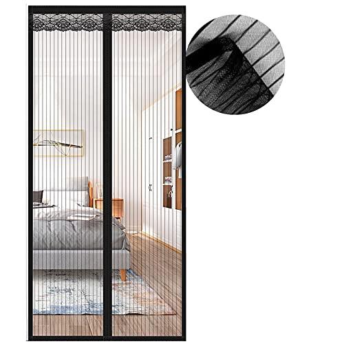 Zanzariera Magnetica per Porte, Zanzariera 85x240 cm, Nero Zanzariere Porte Chiusura Automatica, Facile da Installare, per Porta Finestra Balcone Soggiorno