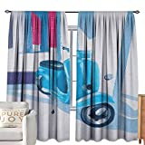 Andrea Sam Yellow Curtains Country,Mini Scooter in Soft Mediterranean Mid Day Italian Town Life Symbol Art Paint Print, Blue Grey W104 x L84 Kids Blackout Thermal Curtain Panel