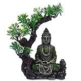 POPETPOP Acuario Estatua de Buda Decoración Sentado Estatua de Buda Paisaje Submarino Escondite Resina Pez Escondite Ornamento
