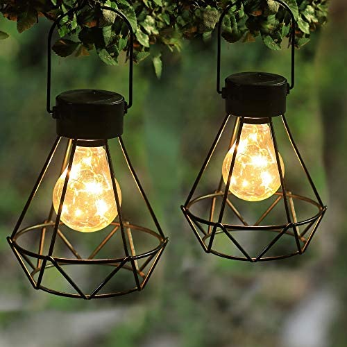 MAGGIFT 2 Pack Hanging Solar Lights Outdoor Solar Powered Tabletop Lanterns with 15 LED Copper product image