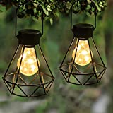 MAGGIFT 2 Pack Hanging Solar Lights, Outdoor Solar Powered Tabletop Lanterns with 15 LED Copper Lights Blub, Waterproof Solar Lantern with Handle for Yard, Lawn, Patio, Garden Decoration, Warm White