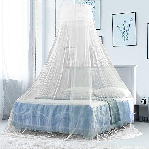 DECARETA Mosquitera para cama de matrimonio, tamaño grande, color blanco, 60 x 260 x 1100 cm, mosquitera redonda para cama doble, cama infantil, camping o casa