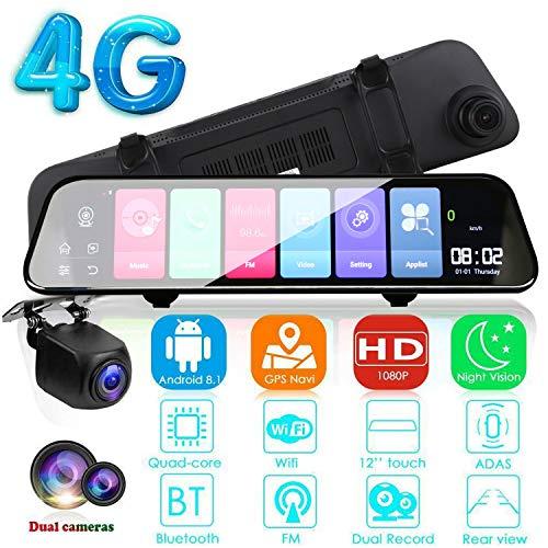 ACAMPTAR 12 Zoll Android 8.1 Adas Dash Cam Auto Dvrs Kamera GPS Navi Fhd Videorecorder 4G WiFi Dvr Spiegel