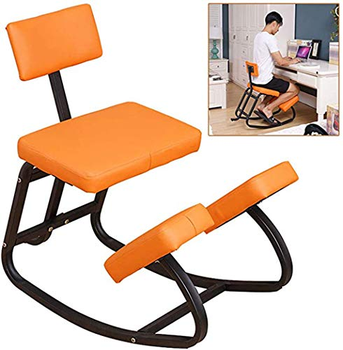 With Back Support Ergonomic Kneeling Rocking Chair, Professional Wooden Kneel Stool,Great For Relieve Calf Muscles Correct Bones Suitable For Office Family Adults And Children 75x78cm,Orange