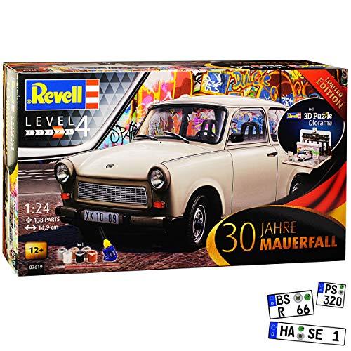 Trabant 601 Limousine Beige 1964-1990 mit Diorama Brandenburger Tor Farben Leim Pinsel 07619 Bausatz Kit 1/24 Revell Modell Auto mit individiuellem Wunschkennzeichen