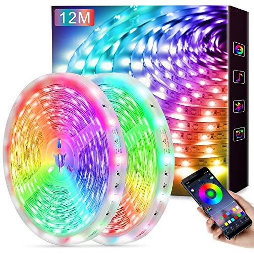 LED Strip 12M, APP Steuerbar LED Lichterkette Streifen mit Fernbedienung 5050 RGB LED Lichtband Selbstklebend Lichtleiste Band für Zuhause Schlafzimmer Beleuchtung im Inneren Party Bar