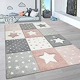 Paco Home Alfombra Infantil, Alfombra Pastel Habitación Infantil con Nubes 3D Y Motivos De Estrellas Arcoíris, tamaño:140x200 cm, Color:Rosa 3