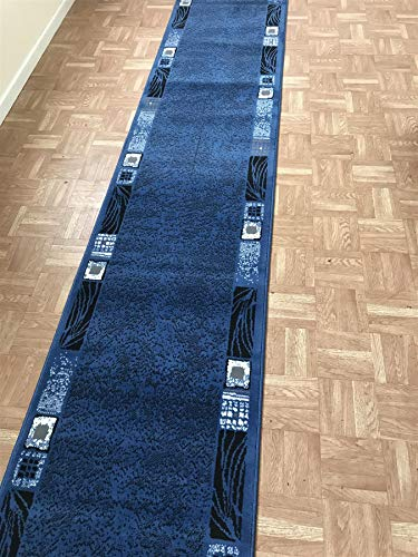 SrS Rugs Luna Collection, Modern Long Carpet Runner Rug for Entrance Hall and Stairs. Smooth Soft 8mm Depth Pile. 70cm Wide. Any Length (Blue Borders, Length: 9' (274cm))