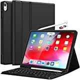 iPad Pro 12.9 Case with Keyboard-2018 [Support Apple Pencil Charging] [with Pencil Holder] Magnetically Detachable Wireless Keyboard for iPad Pro 12.9 2018 (Not for 2017/2015), Black