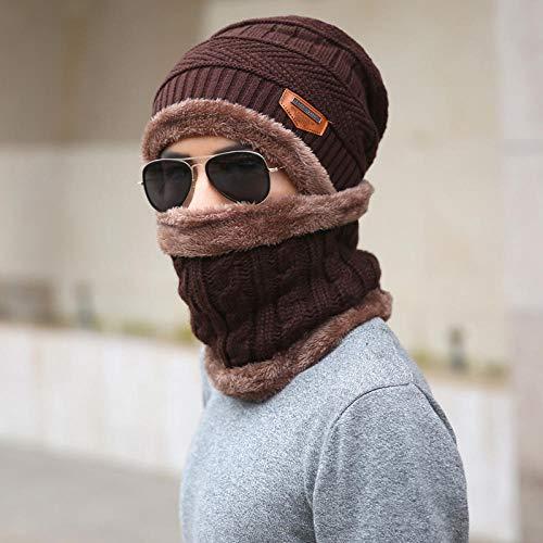 Aibccr Sombreros de Invierno Sombreros de Punto para Hombres más Gorros cálidos de Terciopelo Gorros y cuellos de Lana para Hombres y Mujeres-marrón Talla única