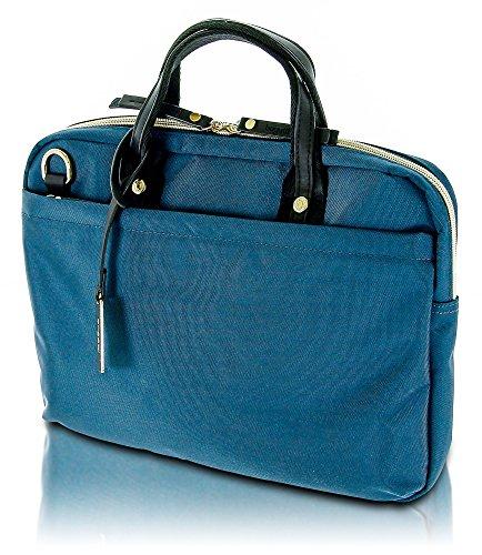Bugatti Contratempo - elegante Damen Businesstasche, Laptoptasche aus hochwertigem Nylon, Handtasche mit glänzenden Gold-Accessoires, petrol