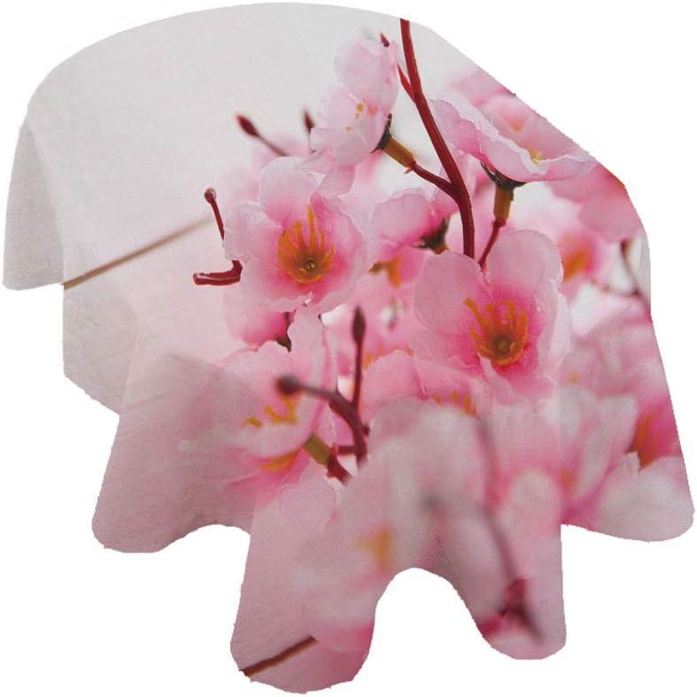 Mantel ovalado floral, pétalos de cerezo para primavera, en tonos pastel suaves, de poliéster, para interiores y exteriores, 152 x 213 cm, para primavera, verano, fiesta, picnic, rosa claro, blanco