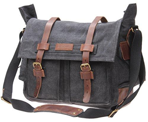 IBLUE Laptop Messenger Bag(15.6'' Laptop Bag)&Canvas Leather Shoulder Briefcase 15.6'' Satchel Computer Bags,#2138 (GREY)