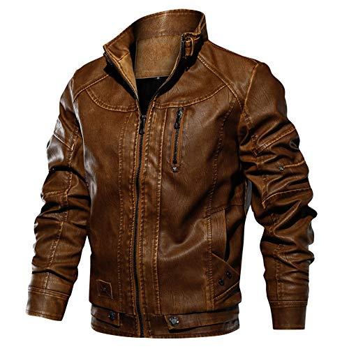 66 Casuale Winter Jacke Giacca in Vera Pelle Uomo Pu Pelle Biker da Moto Molto alla Moda in Pelle Super Soft Pu Jacket Invernale Giubbotto Giacche Bomber Inverno Autunno Cappotto Uomo1-M