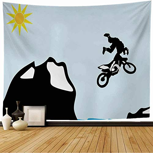 Starojul Tapestry Blue Trick Motocross Bike Jump Over Mountain Moto Sports Recreation Active Biker Competition Cross Tapestry Wall Hanging Blanket Wall Bedroom Decor 60x60 Inch