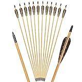 TY Archery Juego de 12 flechas de madera de 80 cm, con plumas naturales de 100 cm, para tiro arco, hechas a mano, para arco tradicional recurvo