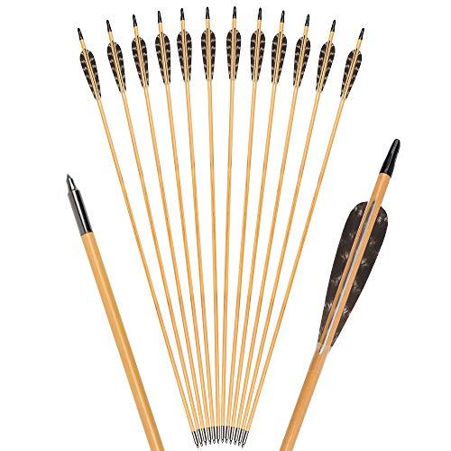 TY Archery 12 Stück 32 Zoll Holzpfeile mit 4 Zoll Naturfedern Pfeile für bogenschießen Pfeile aus Holz Jagdpfeile in Handarbeit für traditionellen Bogen Recurvebogen Langbogen