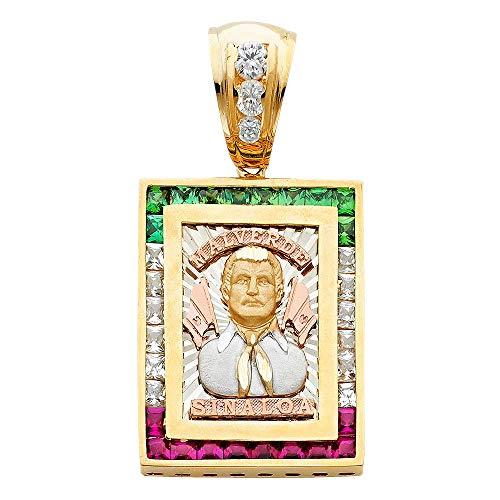Jawa Jewelers 14K Solid Yellow Gold Cubic Zirconia Jesus Malverde Pendant