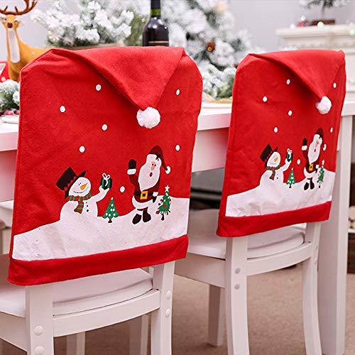 Watenkliy Weihnachtsdeko Dining Stuhlhusse Weihnachten Rote Stuhlabdeckung 60 * 50cm Stuhlüberzug Weihnachtstisch Dekoration
