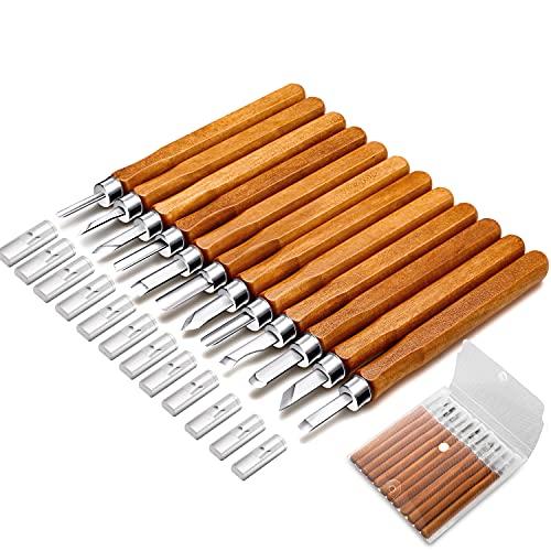 Gimars Upgrade 12 Set SK5 Carbon Steel Wood Carving Tools Knife Kit