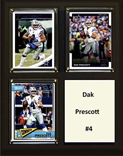 "C&I Collectables NFL Dallas Cowboys Mens 810PRESCOTT3CNFL 8""x10"" Dak Prescott Dallas Cowboys Three Card Plaque, Brown, N/A"